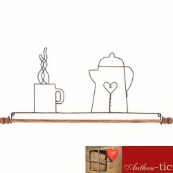Percha cafe barra madera 55,90 cm Gris