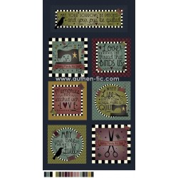 Henry Glass Primitive Stitches 8815-77 Panel